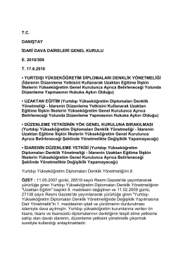 tc danıştay idari dava daireleri genel kurulu e. 2010/309 t. 17.6.2010