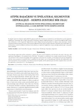 atipik başağrısı ve ipsilateral segmenter hiperaljezi