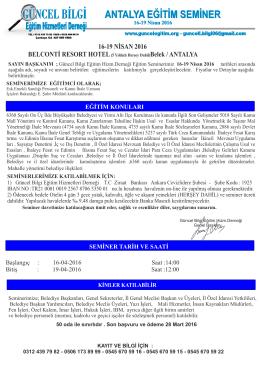 mart-nisan belediyeler - Güncel Bilgi Eğitim Hizmetleri Derneği