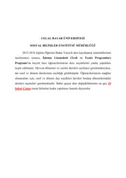 Genel İşletme Lisansüstü Programı (Tezli ve Tezsiz)