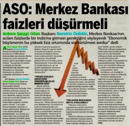 Ankara Sanayi Odası Başkam Nurettin Özdebir, Merkez Bankası`nın