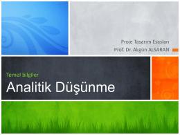 Analitik Düşünme - Prof.Dr Akgün Alsaran