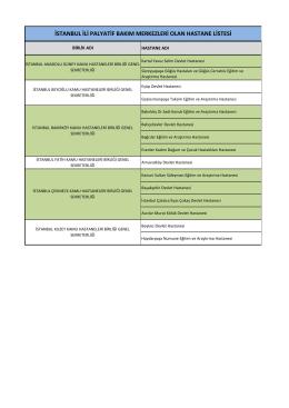istanbul ili palyatif bakım merkezleri olan hastane listesi