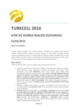 TURKCELL 2016 ATIK VE HURDA IHALESI DUYURUSU