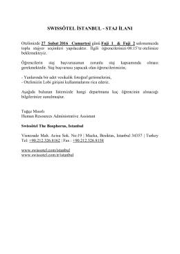 17.01.16 Staj İlanı (Swissotel İstanbul)