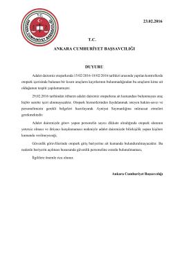 Ankara Cumhuriyet Başsavcılığı Adliyemiz Otopark Duyurusu