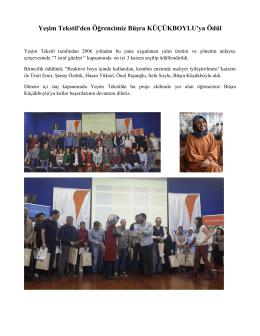 Yeşim Tekstil`den Öğrencimiz Büşra KÜÇÜKBOYLU`ya Ödül