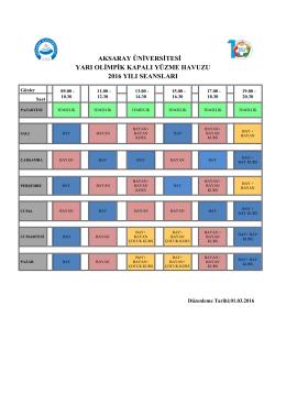 Kapalı Yarı Olimpik Yüzme Havuzu Programı