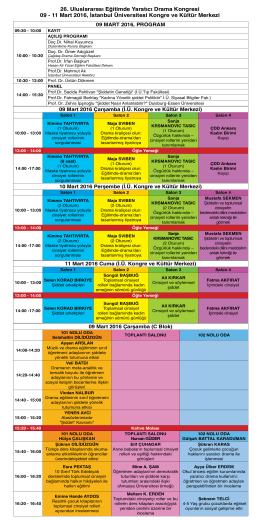 Kongre Programı - 26. Uluslararası Eğitimde Yaratıcı Drama Kongresi