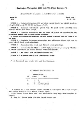 Cumhuriyet Üniversitesi 1983 Malî Yılı Bütçe Kanunu