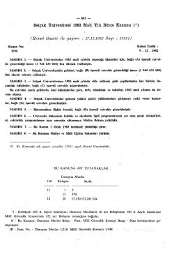 Selçuk Üniversitesi 1983 Malî Yılı Bütçe Kanunu