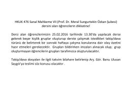 Prof. Dr. Meral Sungurtekin Özkan Şubesi