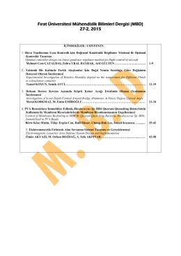Fırat Üniversitesi Mühendislik Bilimleri Dergisi (MBD) 27