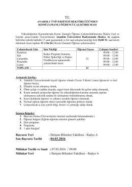 İletişim Bilimleri Fakültesi - Radyo A