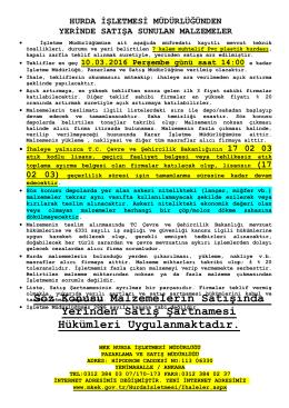 10.03.2016 Tarihli Yerinde Satış (Muhtelif PVC