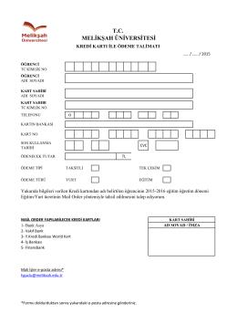 Mail Order Çekim Talimat Formu İçin Tıklayınız