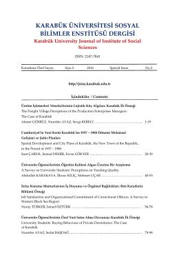 İçindekiler - Sosyal Bilimler Enstitüsü Dergisi