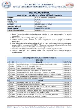 2015-2016 öğretim yılı gençler futsal türkiye birinciliği