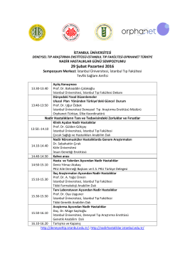 29 Şubat Pazartesi 2016 - İstanbul Üniversitesi
