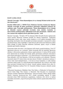 """BASIN AÇIKLAMASI Mustafa Yeneroğlu: """"İslam"""