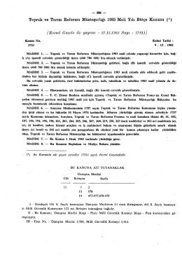 Toprak ve Tarım Reformu Müsteşarlığı 1983 Malî Yılı Bütçe