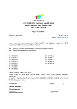 başvuru formu - Türkiye Tenis Federasyonu