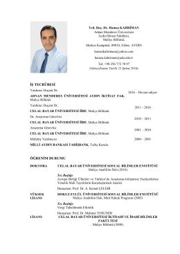 Yrd. Doç. Dr. Hamza KAHRİMAN - Adnan Menderes Üniversitesi