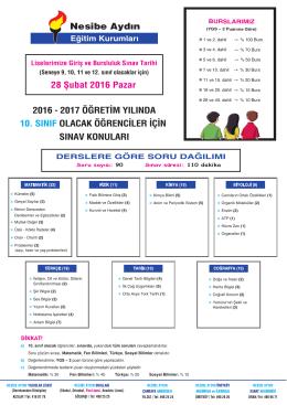 10.sınıf olacak (bursluluk) - Nesibe Aydın Eğitim Kurumları