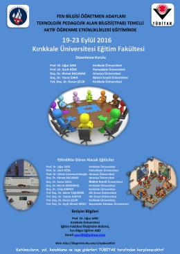 19-23 Eylül 2016 Kırıkkale Üniversitesi Eğitim