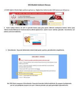 EDS Modülü Kullanım Klavuzu - Erzincan İl Milli Eğitim Müdürlüğü