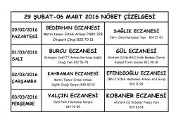 KOBANER ECZANESİ 29 ŞUBAT-06 MART 2016 NÖBET ÇİZELGESİ