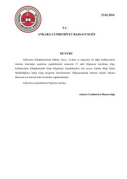 Ankara Cumhuriyet Başsavcılığı Kütüphane Duyurusu