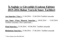 2015-2016 Bahar Yarıyılı Sınav Tarihleri