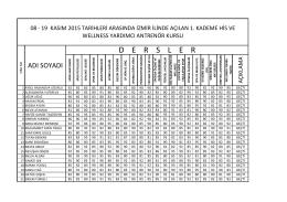 08-19 kasım 2015 tarihleri arasında izmir ilinde açılan 1. kademe his
