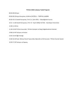 TR Dizin Editör Çalıştayı Taslak Programı