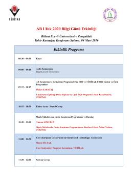 AB Ufuk 2020 Bilgi Günü Etkinliği Etkinlik Programı