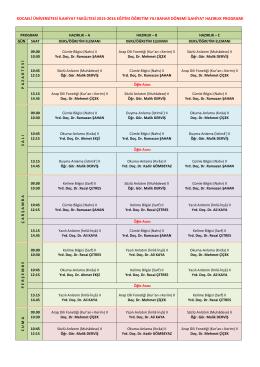 Bahar Dönemi Haftalık Ders Programı - İlahiyat Fakültesi