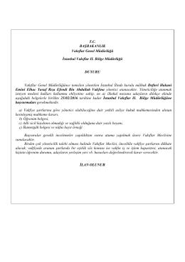 TC BAŞBAKANLIK Vakıflar Genel Müdürlüğü İstanbul