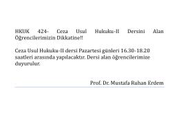 hkuk 424 ceza usul hukuku ıı dersini alan öğrencilerin dikkatine!