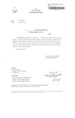 T.C. VAN VALİLİĞİ Halk Sağlığı Müdürlüğü Sayı : 10912266/771