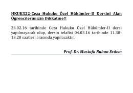 hkuk 322 ceza hukuku özel hükümler ıı dersini alan öğrencilerin