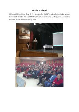 Bolu`da 25.Şubat.2016`da Arı Ürünleri ve Arı Sağlığı ile ilgili eğitim