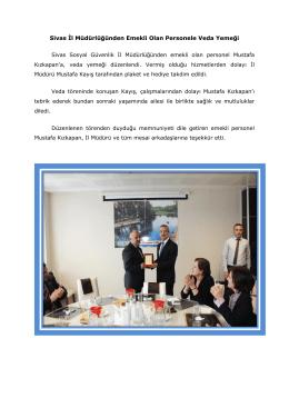 Sivas İl Müdürlüğünden Emekli Olan Personele Veda Yemeği