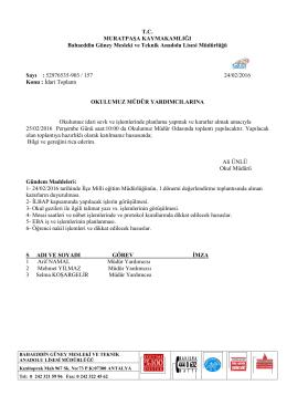 İdari Toplantı Yapılması. 15/02/2016