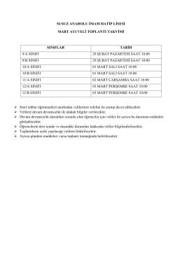 mart ayı veli toplantı takvimi - KARS / SUSUZ