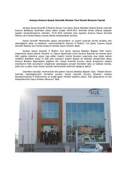 Amasya Suluova Sosyal Güvenlik Merkezi Yeni Hizmet