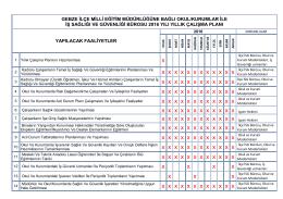 2016 Yıllık Çalışma Planı - Gebze İlçe Milli Eğitim Müdürlüğü