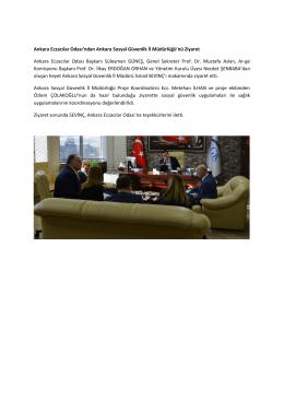 Ankara Eczacılar Odasından Ankara İl Müdürlüğüne Ziyaret