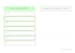 Haftalık menü planlama ve alışveriş listesini indirmek için tıklayınız