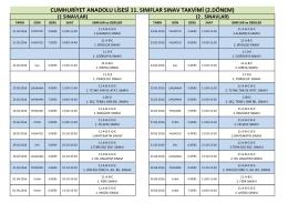 11.Sınıflar Sınav Takvimi 2015-2016 2. dönem